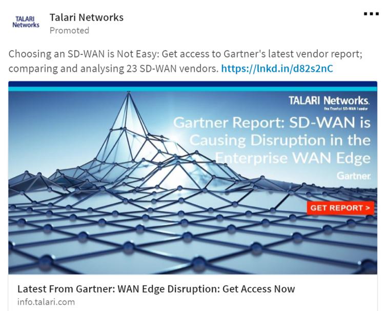 Talari Networks Paid Advertising example