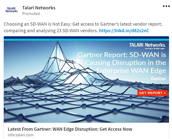 Talari Networks Paid Advertising example